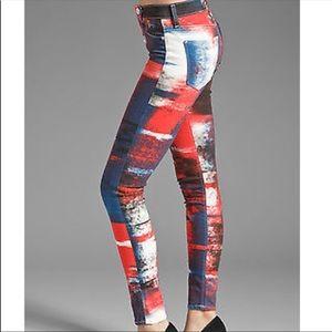 Hudson Red White & Blue Skinny Jeans